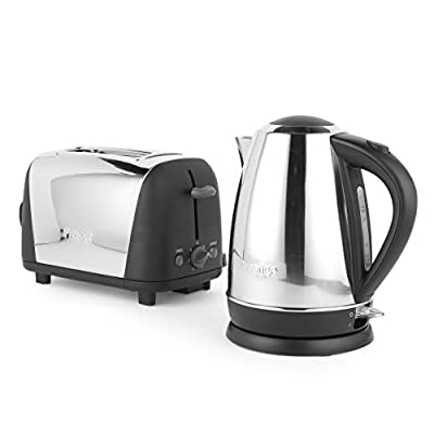 Prestige 53232 Create Breakfast Set Includes Kettle and Toaster, Stainless Steel/Black, 3000 W, 1.7 liters