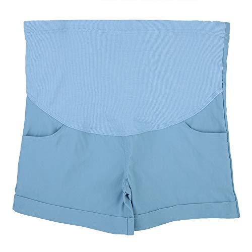 Mujeres Pantalones Cortos de Maternidad Embarazo Pantalones Cortos de Verano Soporte de mamá Pantalones Cortos de Panel Completo Corto Cintura elástica(XL-Azul Claro)