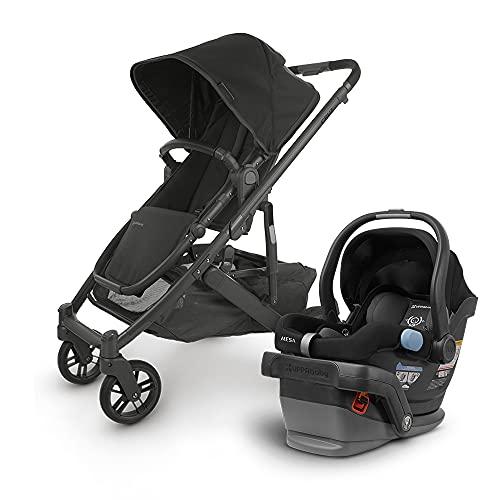 UPPAbaby Cruz V2 Stroller - Jake (Black/Carbon/Black Leather) + Mesa Infant Car Seat - Jake (Black)