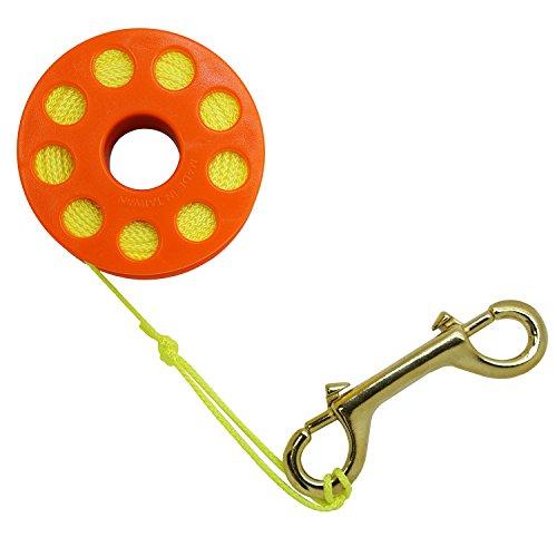 Scuba Choice Diving Orange Compact Finger Spool 30,5m Dive Reel- Yellow Line