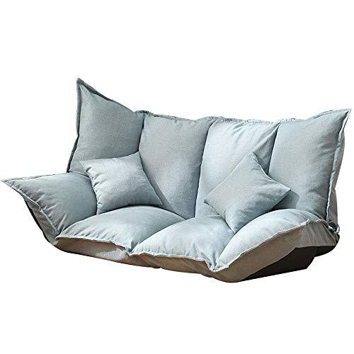 Tiantian-sofa T-T-H Sofá Perezoso hogar Sala de Estar Tatami reclinable Plegable Simple Cama Individual Silla (Color : Blue)
