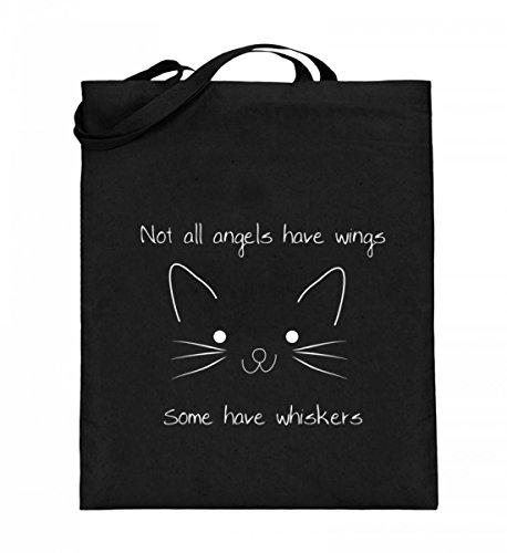 Nicht alle Engel haben Flügel - manche haben Schnurrhaare | Katze Katzen Kätzchen - Jutebeutel (mit langen Henkeln)