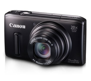 Canon PowerShot SX 240 HS Digitalkamera (12,1 MP, 20-fach opt. Zoom, 7,6cm (3 Zoll) Display, bildstabilisiert) schwarz