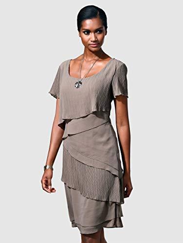 Alba Moda Damen Kleid Taupe 42 Kunstfaser