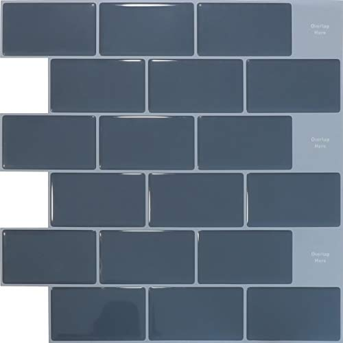 SHINGONE 3D Self Adhesive Tiles Stickers Waterproof for Bathroom, Kitchen Tile Stickers Peel and Stick Wall Tiles Stickers Backsplash, Gray-Bule Tiles Stickers 30.5x30.5cm (4 Sheets)