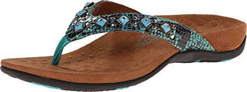 Vionic Women's Rest Floriana Toepost Sandal - Ladies Flip Flops with Concealed Orthotic Support Teal Snake 9 M US
