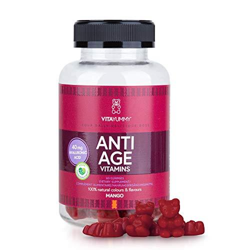 VITAYUMMY Anti Age Vitamin Gummies, Mango Flavour | Rich in Hyaluronic Acid & Vitamin C A B | Moisturizing Skin Care & Reduces Wrinkles | 60 pcs, 1 Month Supply