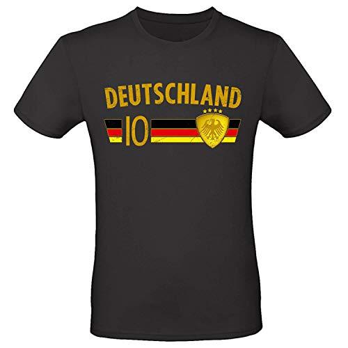 Shirt-Panda Fußball WM T-Shirt · Fan Artikel · Nummer 10 · Passend zur Weltmeisterschaft · Nationalmannschaft Länder Trikot Jersey für 2022 · Herren Damen Kinder · Deutschland Germany Schwarz-Gold M