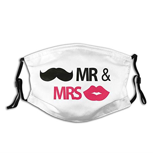 Women Men Multifunctional Half Face Bandana Reusable 3D Print Breathable Dust Protective Face Covering,Funny Stencil Art Lips Moustache Mr And Mrs Retro Stylized Design