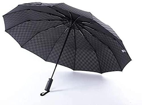 dh-2 Paraguas Apertura automática y Estampado Cuadrado Paraguas de Negocios para Hombres Rejilla Negra