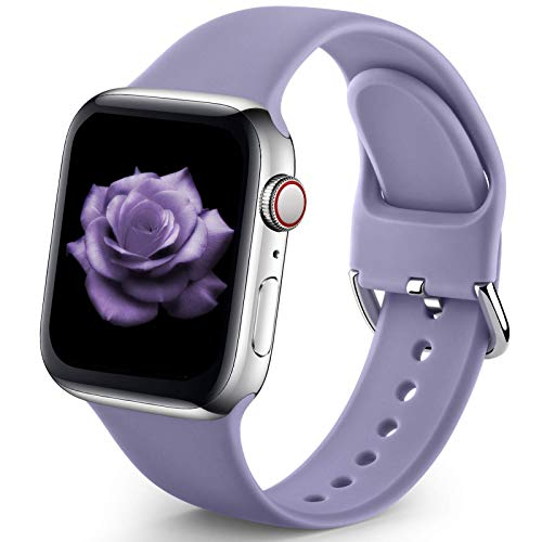 Sport Band Compatible with Apple Watch iWatch Bands 38mm 40mm for Women Men,Soft Silicone Strap Wristbands for Apple Watch Series 3 Series 6 Series 5 Series 4 Series 2 Series 1 Series SE,Lavender Grey