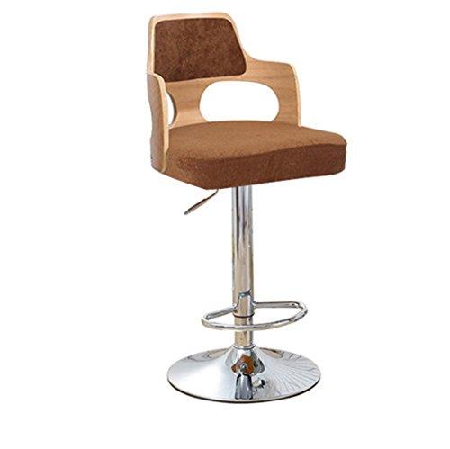 Ali@ Tabourets de bar à la mode Chaise haute de style européen Tabouret de bar Rotation de la chaise d'ascenseur Chaise de chaise en bois massif Chaise de réception Chaise haute (Couleur : Brown2)