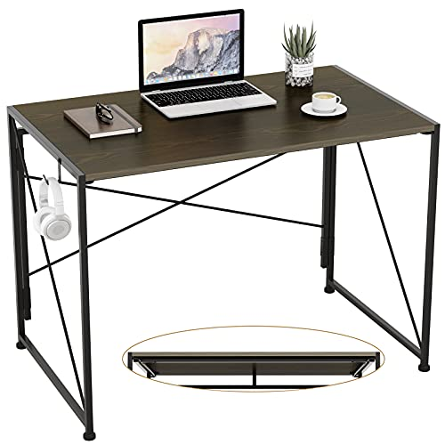 """Engriy Folding Computer Desk, 40"""" Writing Study Desk for Home Office, Simple Modern Style Wood Table Metal Frame for PC Laptop Notebook"""