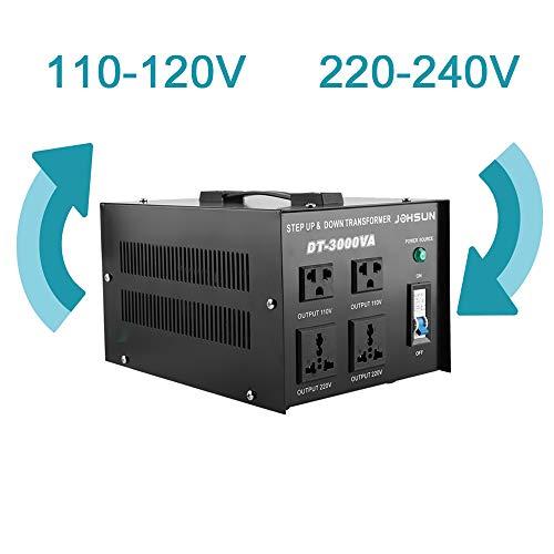 3000W Spannungswandler 220v-240v auf 110v-120v, Zwei Weg Transformator Step-up/-down Konverter mit Überlast-/ Überhitzung-/ Kurzschlussschutz
