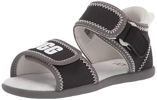 UGG Baby-Mädchen Delta Sandale, schwarz/weiß, 18 EU