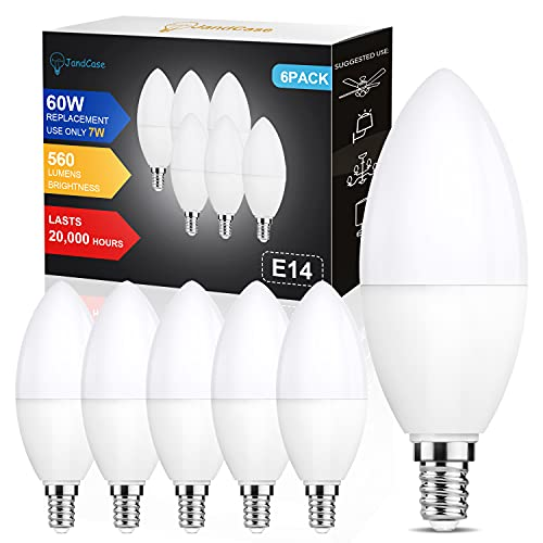 E14 LED Lampe Kerzenform Kaltweiß, 60W Halogenlampe ersetzt, JandCase 7W C37 E14 LED Kerze Lampe, Kaltweiß 6000K, 560LM E14 Glühbirne Kerzenform, Nicht Dimmbar, 6er Pack