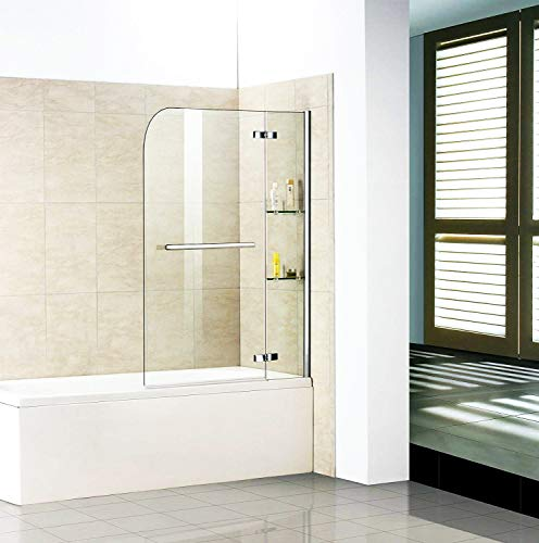 Badewannenaufsatz Duschabtrennung 100x140cm Duschwand Badewanne Sicherheitsglas mit Handtuchhalter Eckregal