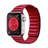 JONWIN Compatible con Piel Correa de Cuero Apple Watch 38/40 mm, Correa Ajustable Mejorada con Fuerte Cierre magnético Compatible con iWatch Series 6/5/4/3/2/1/SE,Rojo