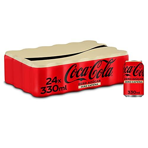 Coca-Cola Zero Azúcar Zero cafeína - Refresco de cola sin azúcar, sin calorías, sin cafeína - Pack 24 latas 330 ml