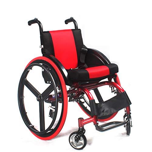 Daka Handboek Rolstoel, Sport Rolstoel Scooter Aluminium Vouwen Draagbaar met (Rood)