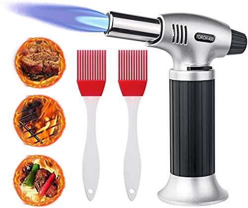 flintronic Chalumeau de Cuisine Torche de Cuisine Butane Briquet Chalumeau Gaz Cuisine Verrou de Sécurité Réglable Flammes avec 2 Pinceaux, pour Creme Brulee, Cuisson, Barbecue, DIY, Soudure
