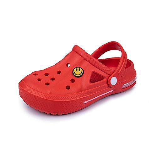 ZYMQ Sandalias Agujero Zapatos Pareja Zapatillas de Hogar Verano Hallow out Sonriente Cara Hebilla Hombres Y Mujeres Playa Piso,Rojo,37