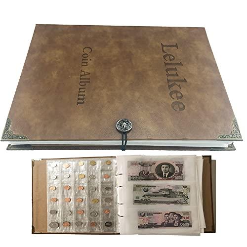Lelukee Geldbörse für Sammler, Banknotenalbum fasst 240 Banknoten + 150 Münzfächer, Banknoten-Gedenkmünzen feuchtigkeitsbeständiges Lederalbum Sammelzubehör