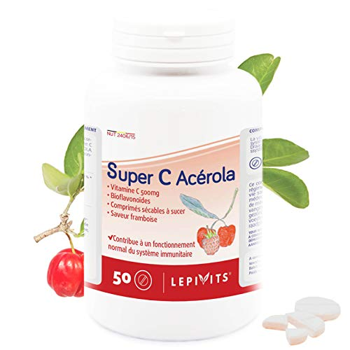 Leppin–Super C acérola 500mg 50Pastillas de sucer AU sabor frambuesa–Vitamina C Forte–Antioxidante–Suplemento naturales