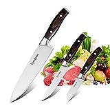 Symbom Couteaux de Chef, Couteau de Cuisine Ensembles de Couteau Chef 200mm Couteau de Cuisine 127mm Couteau Paring 76.2mm