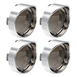 NTHREEAUTO 2 Inch Bullet Smoked Turn Signal Light Lens Cover with Chrome Visor Bezels Compatible with Harley Dyna Street Glide Road King