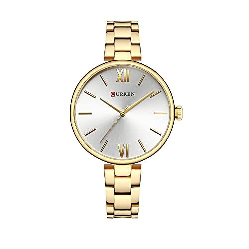 SXLONG Reloj Analógico para Mujer con Pulsera De Aleación De Banda De Acero De Cuarzo Impermeable para Mujer-C
