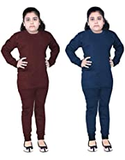 FAIQA Thermal Wear Top Pajama for Boys Girls Kids Baby (Pack of 2) (7-8 Years) Brown Blue