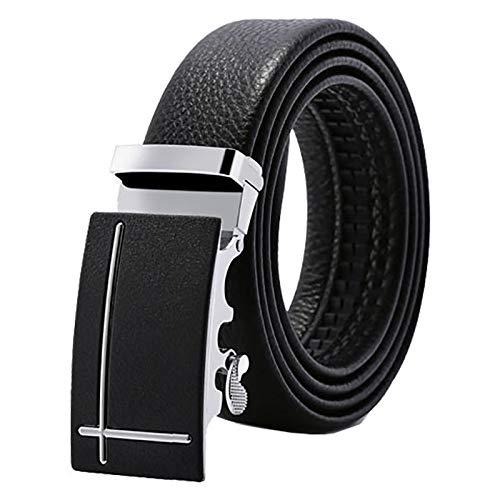 Xme Cinturón de piel de vaca de doble cara de primera capa para hombre, cinturón de pantalón de cuero con borde de hebilla automática de aleación, cinturón de patrón de lichi informal de negocios