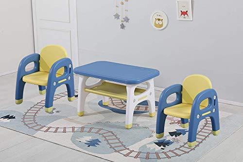 Avior Kids Kindersitzgruppe Sitzgruppe Kinder Kindermöbel Kinderstuhl & Tisch Kindertisch mit 2 Kinderstühlen Gelb