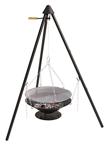 Barbecook Holzkohle Schwenkgrill mit Dreibein-Gestell höhen-verstellbar inklusive Feuerschale und Tragetasche, schwarz, 61x61x22,5 cm