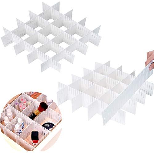 Kekechaoran 16 Piezas Rejilla Ajustable Separadores Cajones Blanco Cajón Divisores Organizador de Cajones Plástico Separador de Armario para Ropa Interior Sujetador Calcetines Y Accesorios