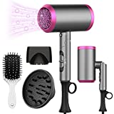 Ionic Hair Dryer - Roykoo 1875W Professional Blow Dryer With Negative Ion Technolog, Fast Drying Blow Dryer, 3 Heating/2 Speed/Cold Settings, Nozzles and Diffuser, Hair Blow Dryer for Home Travel Kids