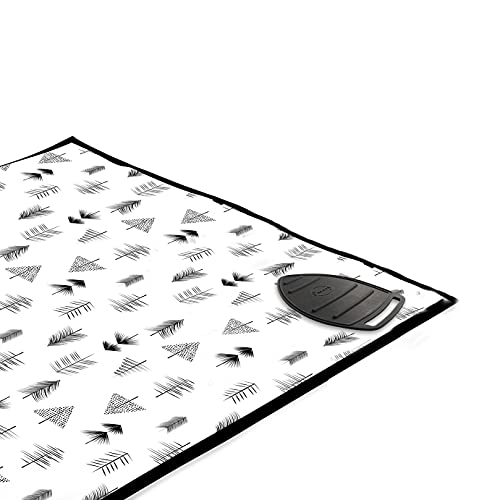 Encasa Homes Tapis de Repassage (120 x 70 cm) avec Rembourrage de 3 mm et Repose-Fer en Silicone pour Le Repassage à la Vapeur sur la Table ou Le lit - Couverture résistante à la Chaleur- Black Arrow