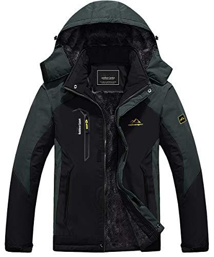 KEFITEVD Giacca da snowboard da uomo con calda imbottitura, giacca da sci in softshell impermeabile con cappuccio, giacca invernale in pile traspirante, Schwarz-grau-Neu, XL