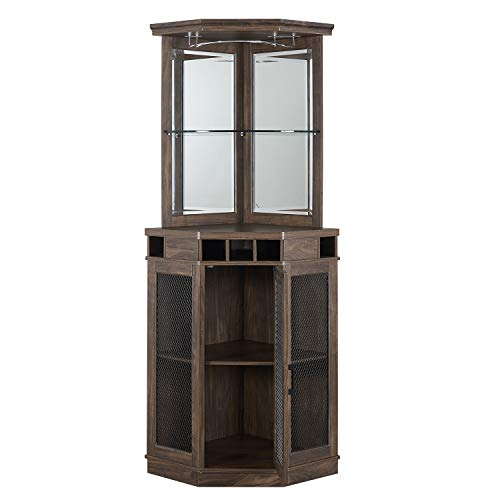 Home Source Corner Bar Unit (Oak- Mesh)