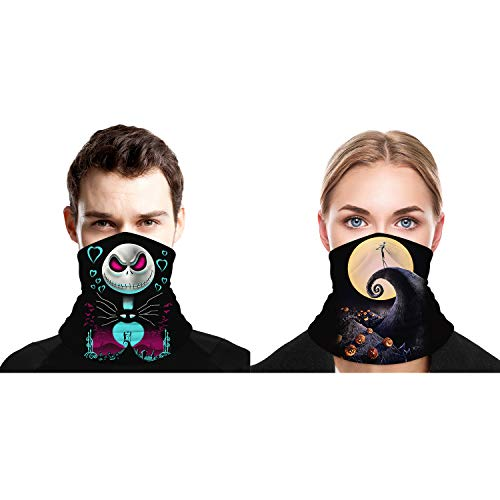 WOHA The Nightmare Before Christmas Bandana Face Cover Scarf Shield Balaclava Neck Gaiter for Men Women 2 Pack