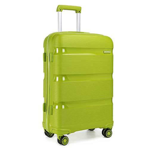 Kono 24 inch Medium Check in Luggage 66L TSA Lock Lightweight Polypropylene Hard Shell Suitcase (Green,65cm)