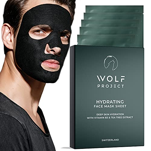 WOLF PROJECT | Hydrating Sheet Mask (5 Pack) - Hydrating and Moisturizing Face Mask For Men - Natural serum, Bamboo charcoal face mask sheets, Vitamin B3 & Hyaluronic Acid for glowing skin