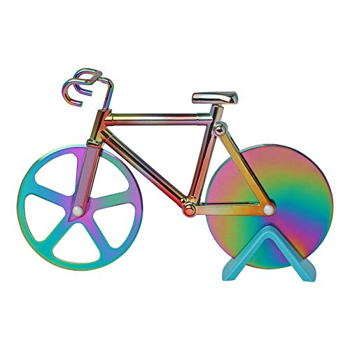 Pizzaschneider Fahrrad, Pizza Cutter mit Ständer, Antihaftbeschichteter Edelstahl Pizzaroller, Scharfes Pizzarad, 18,5 cm, Bunt