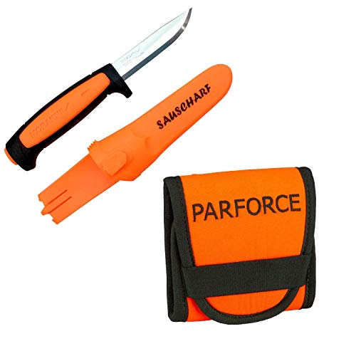PARFORCE Patronenetui orange Mit Mora Messer sauscharf