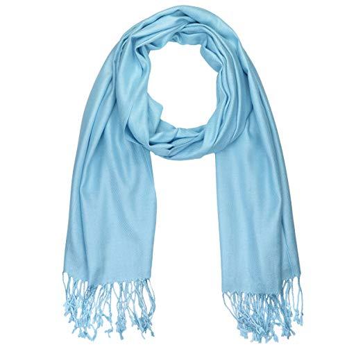 Falari, Pashmina-Schal, Damen, weich, einfarbig, für Hochzeiten, Brautjungfer, Geschenke und Abendkleid -  Blau -  Einheitsgröße