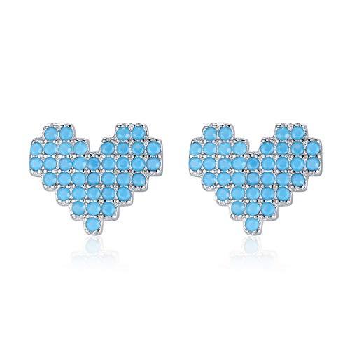 925 Sterling Silver Vintage Turquoise Stud Earrings For Women Romantic Heart Ear Studs Hypoallergenic Fine Jewelry