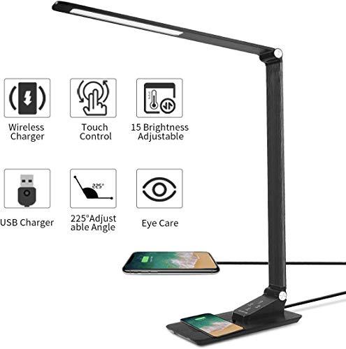 DOOK bureaulamp LED kantoor tafellamp 3 kleuren en 5 helderheidsniveaus, USB-poort tafellamp met oplaadfunctie voor het opladen van de smartphone, tafellamp oogbescherming aanraakveldbediening