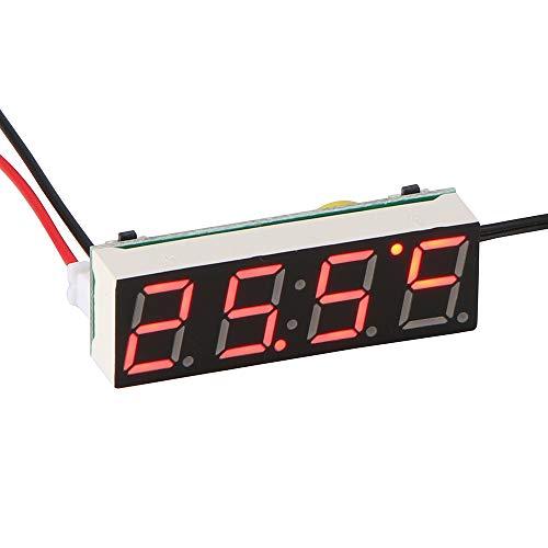 Auto Elektrische Uhr, ABEDOE 3 in 1 Uhr Thermometer Voltmeter Digital Timer Uhr Led-anzeige Auto Timer Mini Tragbare Auto Uhr (Rot)
