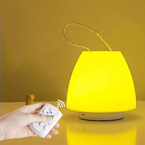 SPNEC Lámpara de Mesa de luz Nocturna LED portátil, Temporizador de Control Remoto, lámpara de Noche de Dormitorio de Silicona Recargable con USB Regulable para niños (Color : Yellow Light)